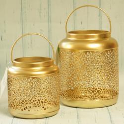 Lampion złoty, metalowy, ażurowy, mniejszy, złote dodatki do domu, eleganckie złote dekoracje, donadekoracje.pl