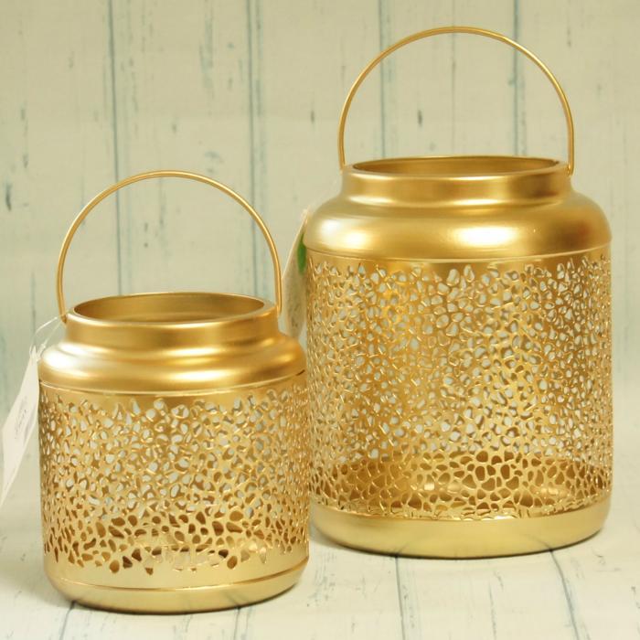 Lampion złoty, metalowy, ażurowy, większy, złote dodatki do domu, eleganckie złote dekoracje, donadekoracje.pl