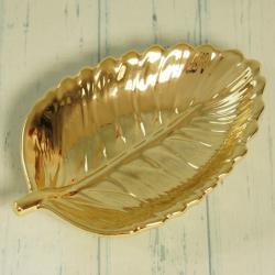 Talerz liść złoty mały, złote dodatki do domu, eleganckie złote dekoracje domu, donadekoracje.pl