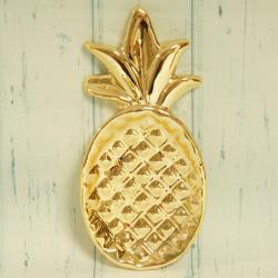 Talerz złoty ananas, złote dodatki do domu, eleganckie złote dekoracje domu, donadekoracje.pl