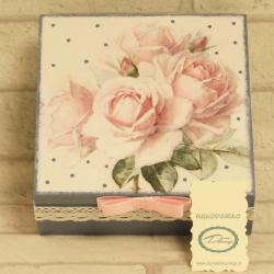 Pudełko decoupage, szkatułka granatowa z różami