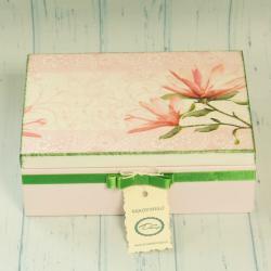 Pudełko decoupage, szkatułka różowa