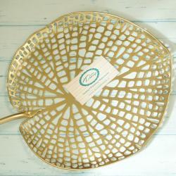 Talerz duży liść złoty, metalowy, ażurowy