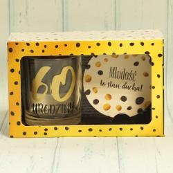 Prezent na 60 Urodziny: szklanka do drinków oraz podkładka, zestaw prezentowy na 60 lat.