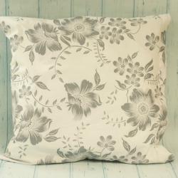 Poduszka w kwiaty, biało-szara