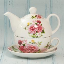 Czajniczek z filiżanką, biały w róże, tea for one,