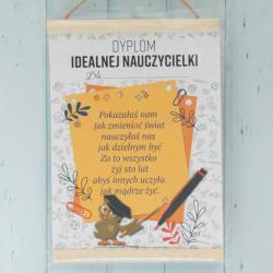 Dyplom Idealnej Nauczycielki, prezent na dzień nauczyciela, życzenia dla nauczycielki