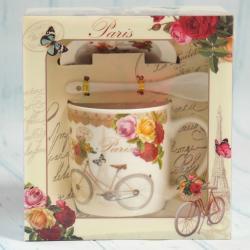 Kubek z łyżeczką i podstawkiem - rower