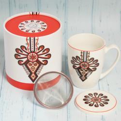 Kubek folk parzenica, zestaw z zaparzaczem