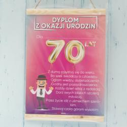 Dyplom z okazji 70 Urodzin Mężczyzny, prezent dla faceta na 70 lat, życzenia na 70 lat