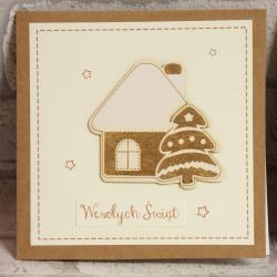 Kartka świąteczna Domek z piernika, rękodzieło