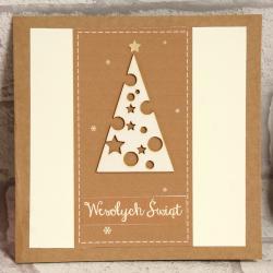 Kartka świąteczna z choinką ręcznie robiona