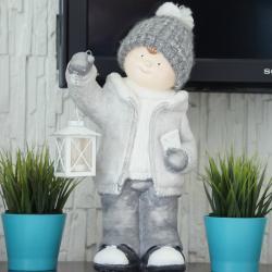 Chłopiec z latarnią, ogromny, gipsowy, wymiary 22/24/50cm.