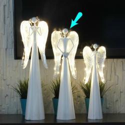 Anioł metalowy, świecące skrzydła LED, duży, wymiary 15/10/50 cm