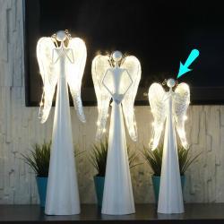 Anioł metalowy, świecące skrzydła LED, duży, wymiary 14/9/41 cm.