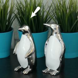 Pingwin srebrny, ceramiczny, głowa prosto