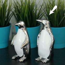 Pingwin srebrny, ceramiczny, głowa w bok