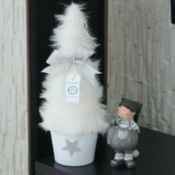 Mini choinka, białe futerko