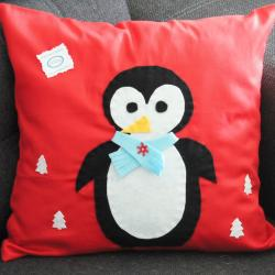 Poduszka świąteczna, pingwin, rękodzieło