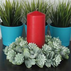 stroik zielony, sukulenty, wianek zielony sukulenty