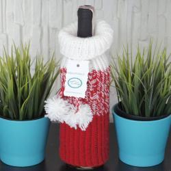 Sweterek na wino, czerwono-biały