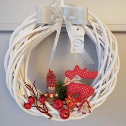 Wianek świąteczny, czerwony renifer
