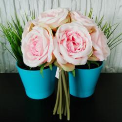 Sztuczne róże, 9 sztuk, różowe