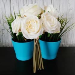 Sztuczne róże, 9 sztuk, białe