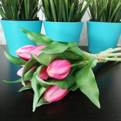 Tulipany sztuczne, różowe, 7 szt