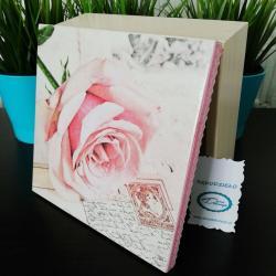 Pudełko decoupage, szkatułka kremowa z różą