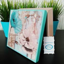 Pudełko decoupage, szkatułka z miętowymi kwiatami