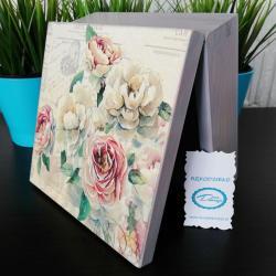 Pudełko decoupage, szkatułka szara z kwiatami