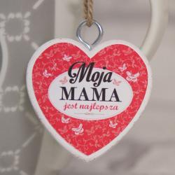 Serce Moja Mama jest najlepsza, zawieszka 4 cm