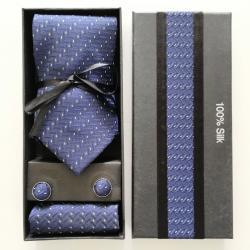 Zestaw dla mężczyzny: krawat, spinki i poszetka