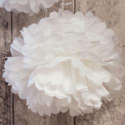 Pompon bibułowy biały, mniejszy, 25 cm