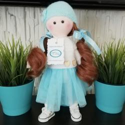 Lalka ręcznie wykonana, turkusowa, ciemne włosy