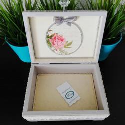 Pudełko decoupage, szkatułka liliowa z różą