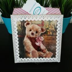Pudełko decoupage, szkatułka różowa z misiem