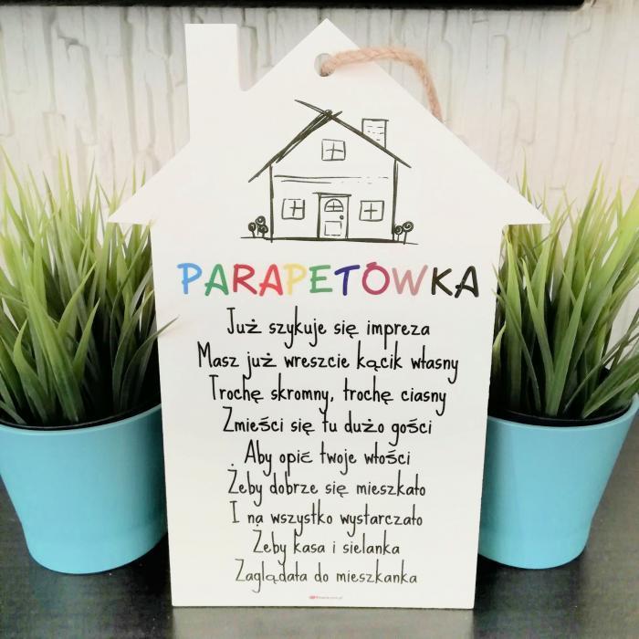 tabliczka domek z życzeniami na parapetówkę
