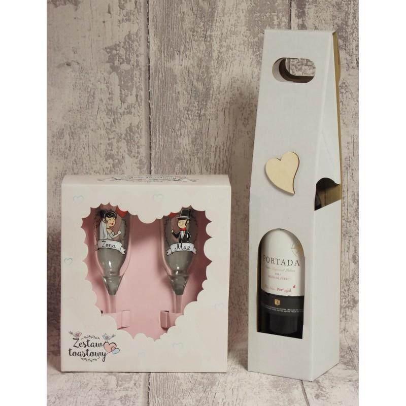 Bardzo dobryFantastyczny Białe pudełko na wino dla Pary Młodej, z drewnianym sercem. LB46