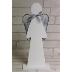 Anioł drewniany z szarymi skrzydłami 30 cm. Rękodzieło.